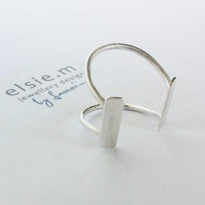 silver open 2 bar ring EMJD117-4