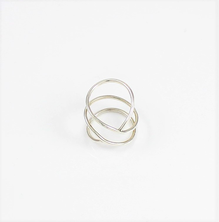 handcrafted silver multi band hammered ring emjd358